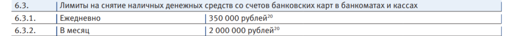 Выдержка о лимитах на снятие наличных с оффициального сайта банка ВТБ