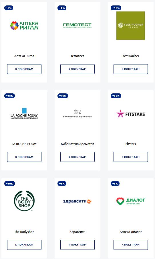 Партнёры по кэшбэку Мультикарты банка ВТБ